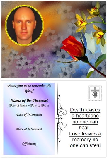 Example Rememberance Funeral Card:Irish Proverb