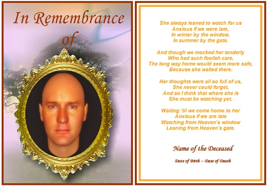 example of rememberance funeral card the watcher