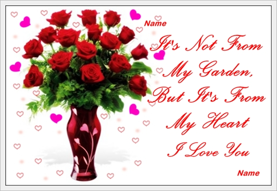 example of flowers from my heart love card
