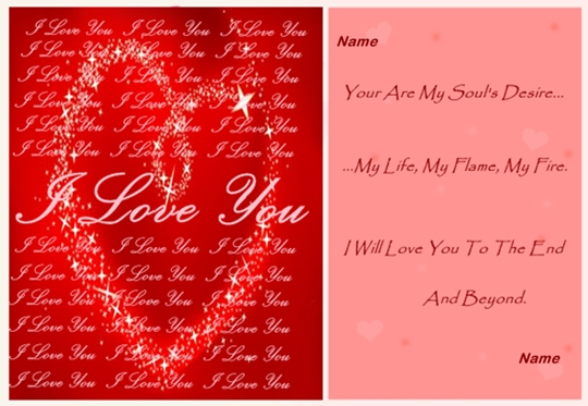 example of love until the end love card