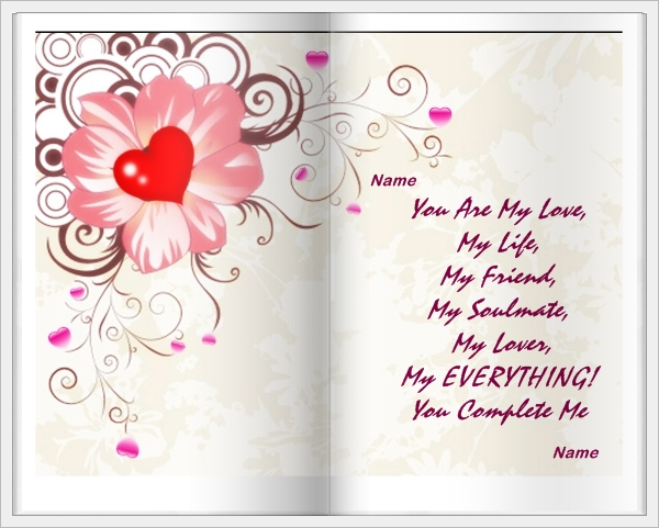 example of you complete me love card